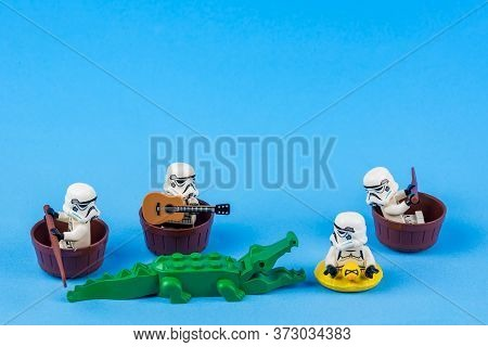 Bangkok, Thailand - June, 08, 2010 : Lego Star Wars Darth Vader Is Standing In The Sea Fishing On A
