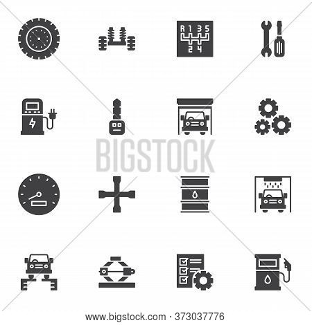 Car Service Vector Icons Set, Modern Solid Symbol Collection, Auto Repair Filled Style Pictogram Pac