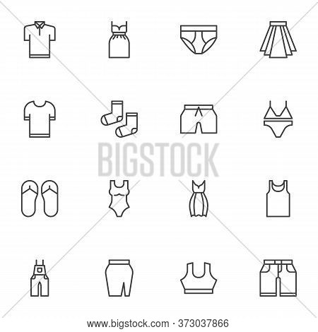 Summer Clothes Line Icons Set, Outline Vector Symbol Collection, Linear Style Pictogram Pack. Signs,