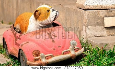 A Bulldog Model And Old Rusty Toy Car On A Lawn By The Stairway