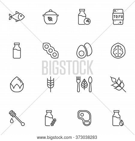 Organic Food Line Icons Set, Outline Vector Symbol Collection, Linear Style Pictogram Pack. Signs, L