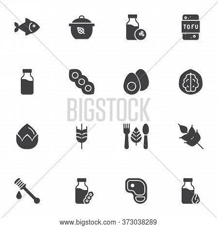 Organic Food Vector Icons Set, Modern Solid Symbol Collection, Filled Style Pictogram Pack. Signs, L