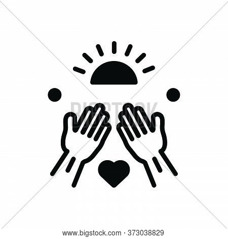 Black Solid Icon For Goodness Well-being Virtue Kindness Mildness Hands