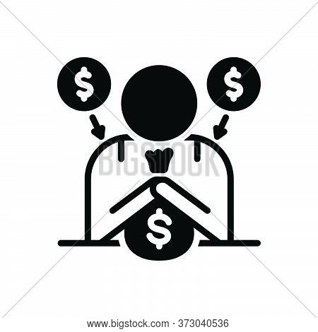 Black Solid Icon For Fundraiser Charity  Donate Benefaction Pittance