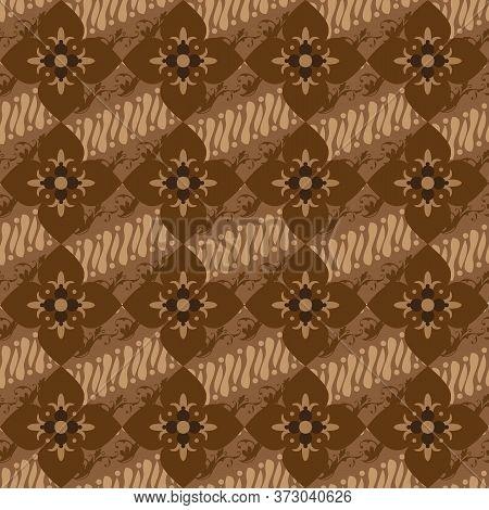 Elegance Flower Motifs On Parang Batik Design With Soft Brown Color Design