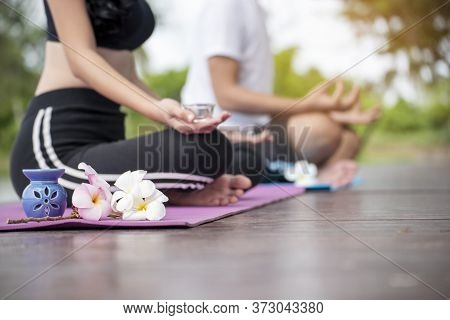 Yoga Fitness Lifestyle Healthy Woman Relaxation Doing A Meditation. Yoga Meditating Outdoor With Zen