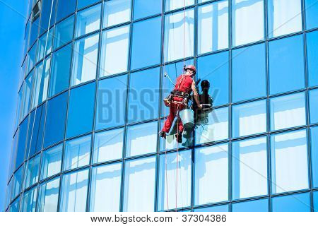 Window washer , washing office building windows