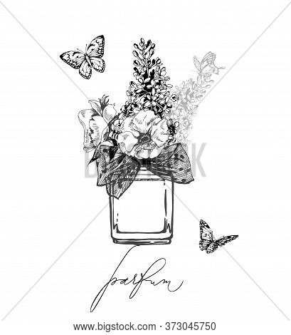 A Beautiful Bottles Of Perfume Butterflies And With Blooming Apple Flowers, Lilac. Womens Perfume. E