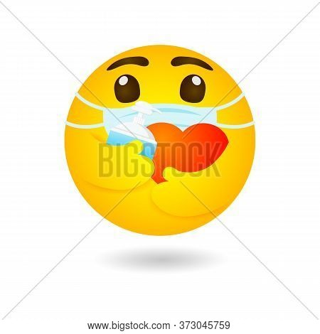 Emoji Emoticon Wearing Face Mask Hugging Red Heart And Alcohol Gel Or Hand Wash Gel Protect Coronavi