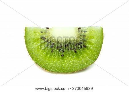 Ripe Fresh Kiwifruit Sliced, Isolated On White Background, Closeup