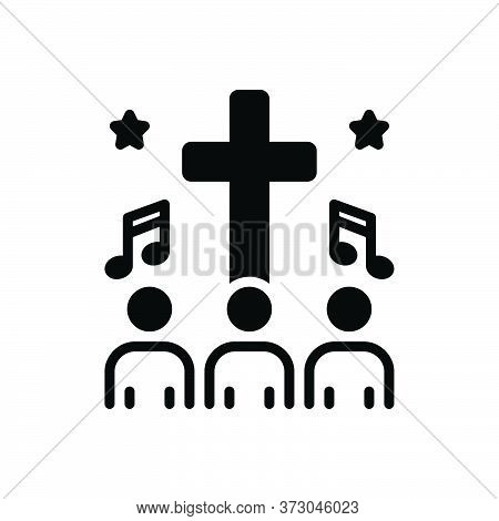 Black Solid Icon For Hymn People Religious-song Psalm Homily Melodious
