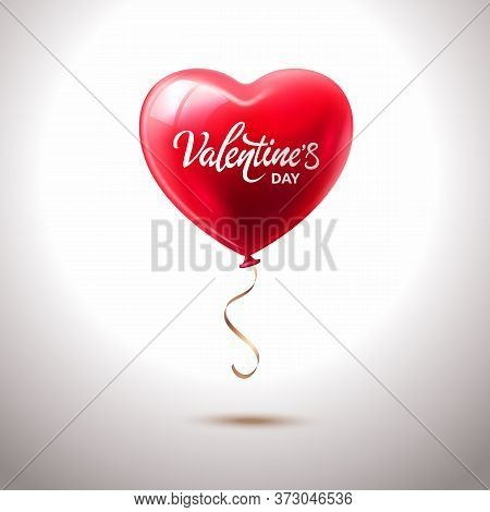 Valentines Day Greeting Card With Red Heart Shape Balloon And Lettering In White Background. Vector