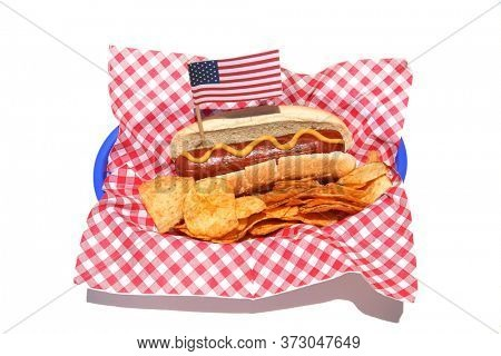 Hot Dog. Hot Dog with mustard and potato chips. Isolated on white. Holiday Picnic Food with an American Flag.
