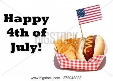 Hot Dog. Hot Dog with mustard and potato chips. Isolated on white. 4th of July Food with an American Flag. Happy 4th of July!
