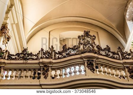 Lviv, Ukraine - October 23, 2019: Balcony With Decorated Balustrade In Dominican Church