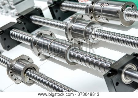 Linear Ball Screw Gear. Drive For Moving Working Parts Of Metal Cutting Machines.