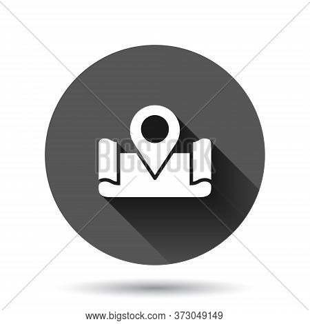 Map Pin Icon In Flat Style. Gps Navigation Vector Illustration On Black Round Background With Long S