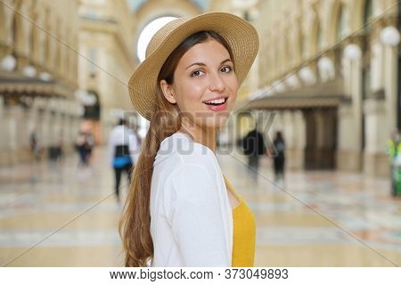 Close Up Of Smiling Fashion Tourist Woman Visiting Vittorio Emanuele Gallery In The City Of Milan, I