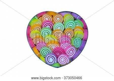Colorful Round Jelly Sugar Candies In A Heart-shaped Box Isolated On White Background