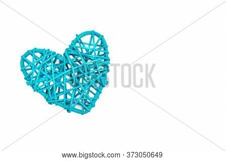 Blue Heart Shaped Rattan, Isolated On White Background, Flat Lay, Directly Above, Copy Space