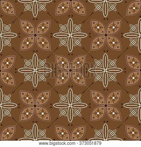 Modern Flower Pattern With Brown Color Design On Solo Batik