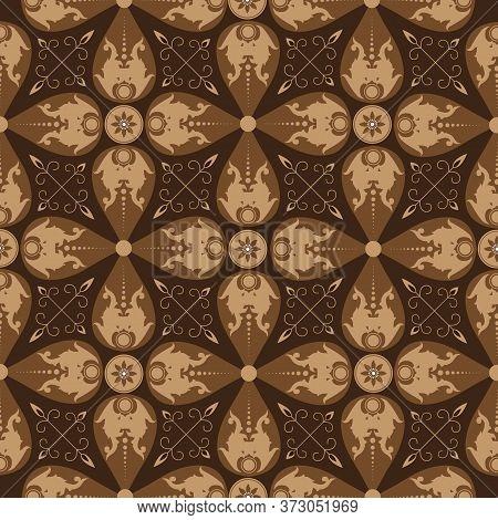 Beautiful Flower Pattern Art Work On Parang Batik Design With Simple Dark Brown Color Design