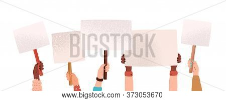 Hands Of Diverse Woman Hold Empty Banners With Place For Text Vector Flat Illustration. Human Arms A