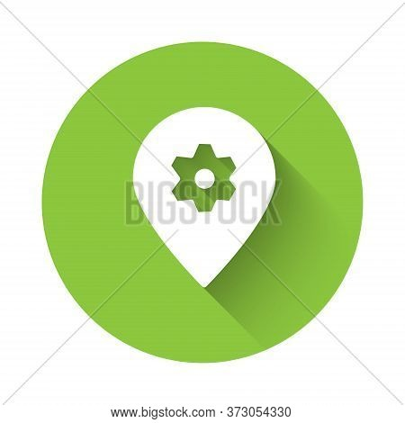 White Location With Car Service Icon Isolated With Long Shadow. Auto Mechanic Service. Repair Servic