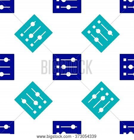 Blue Car Settings Icon Isolated Seamless Pattern On White Background. Auto Mechanic Service. Repair