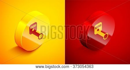 Isometric Engine Piston Icon Isolated On Orange And Red Background. Car Engine Piston Sign. Circle B