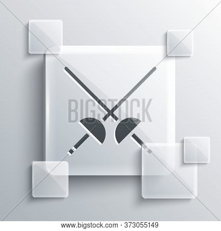 Grey Fencing Icon Isolated On Grey Background. Sport Equipment. Square Glass Panels. Vector Illustra