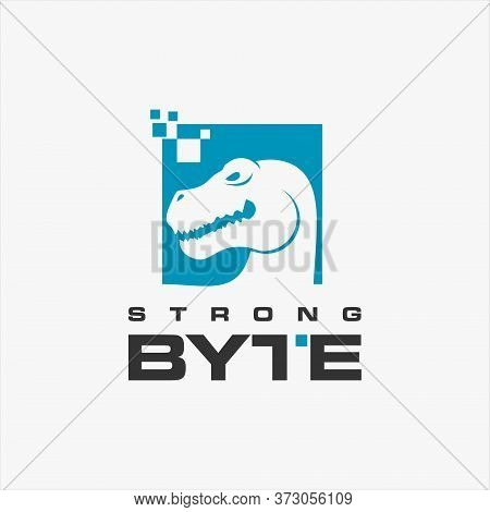 Internet Logo Simple Tyrannosaurus Head And Pixel Vector Frame For Technology Design Inspiration