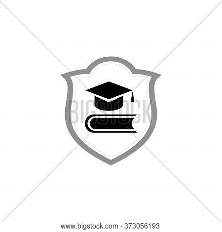 Graduation Cap On Stuck Of Books. Vector Illustration. Education And Higher Education, Distance Lear