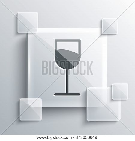 Grey Wine Glass Icon Isolated On Grey Background. Wineglass Sign. Square Glass Panels. Vector Illust