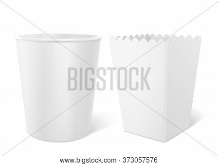 Blank Bucket For Popcorn, Chicken Wings Or Legs Mockup Isolated On White Background. Empty Pail Fast