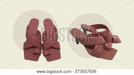 Elegant Red Fashionable Summer Leather High-heel Stylish Women's Sandals Isolated. Composition Of Cl