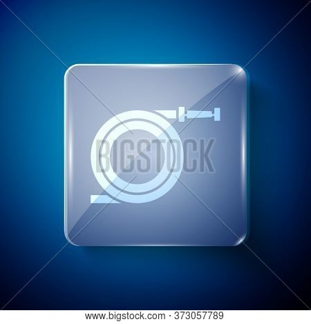 White Garden Hose Or Fire Hose Icon Isolated On Blue Background. Spray Gun Icon. Watering Equipment.