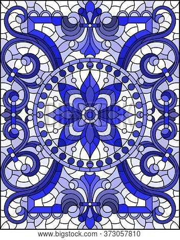 Illustration In Stained Glass Style With Abstract Flowers, Swirls And Leaves  On A Light Background,
