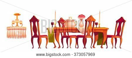 Victorian Dining Room Carved Furniture In Old Royal Baroque Style, Wooden Table With Food, Utensil,