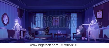 Ghosts In Old Abandoned Living Room With Broken Furniture At Night. Vector Cartoon Scary Illustratio