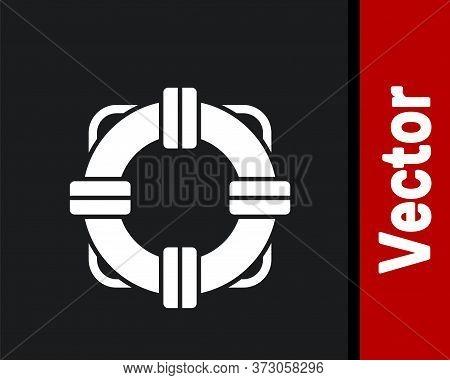 White Lifebuoy Icon Isolated On Black Background. Lifebelt Symbol. Vector Illustration