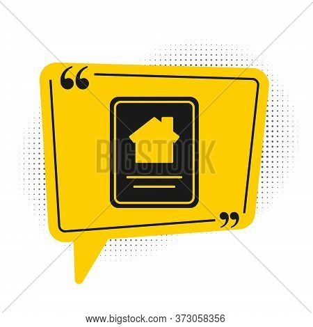 Black Online Real Estate House On Tablet Icon Isolated On White Background. Home Loan Concept, Rent,