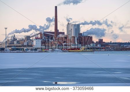 Kotka, Finland - March 10, 2020: View Of The Sunila Pulp And Paper Mill On A March Evening