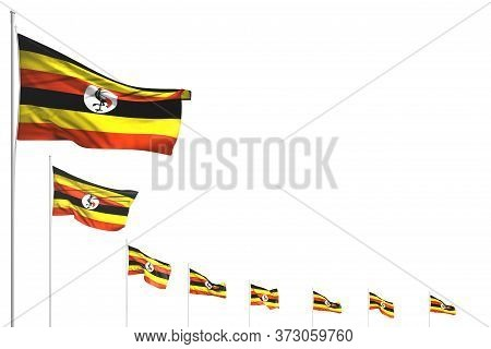 Pretty Many Uganda Flags Placed Diagonal Isolated On White With Place For Text - Any Celebration Fla