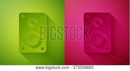 Paper Cut Stereo Speaker Icon Isolated On Green And Pink Background. Sound System Speakers. Music Ic
