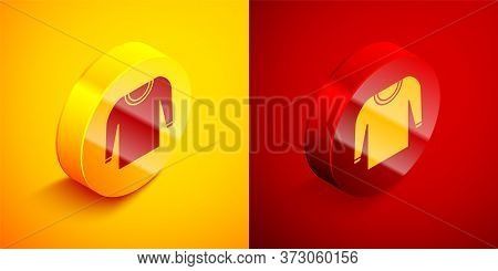 Isometric Sweater Icon Isolated On Orange And Red Background. Pullover Icon. Circle Button. Vector I