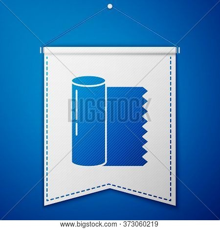 Blue Textile Fabric Roll Icon Isolated On Blue Background. Roll, Mat, Rug, Cloth, Carpet Or Paper Ro
