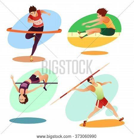 Cartoon Trained Athletes Doing Olympic Sport Exercise Set. Long Jump, Running Jogger Marathon, Throw