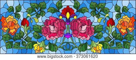 Illustration In Stained Glass Style With Bright Intertwined Roses On A Blue Background, Horizontal O