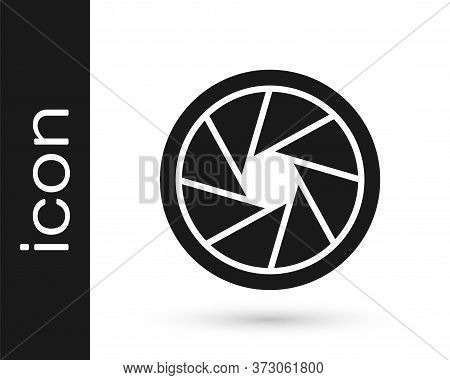 Grey Camera Shutter Icon Isolated On White Background. Vector Illustration